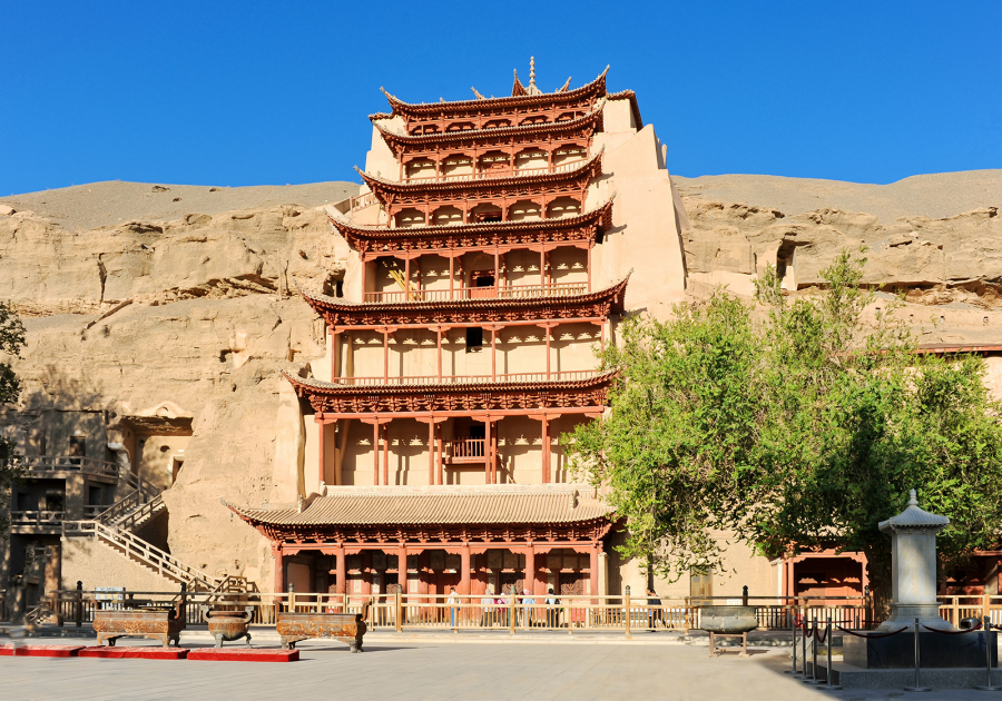 Entrance-Dunhuang-Mogao-Caves-Gansu-China-province