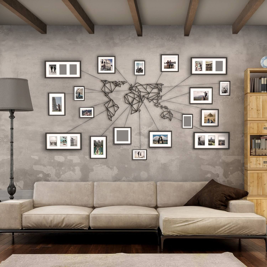 NONAGON-style-n9s-framed-postcard-photo-metal-wire-geometric-map-home-decor-wall