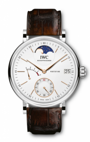 Portofino Hand-Wound Eight Days Moonphase Stainless Steel / Silver