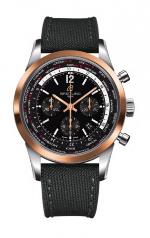 Transocean Chronograph Unitime Pilot Stainless Steel / Red Gold / Black / Military