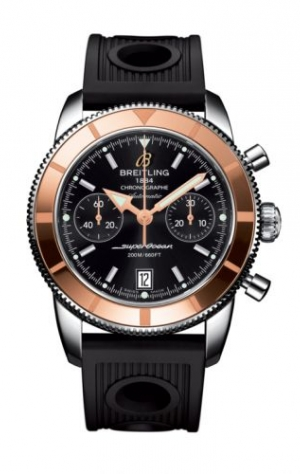 Superocean Heritage 44 Chronograph Stainless Steel / Red Gold / Black / Rubber