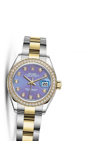 Lady-Datejust 28 Rolesor Yellow Diamond / Oyster / Lavender Diamond