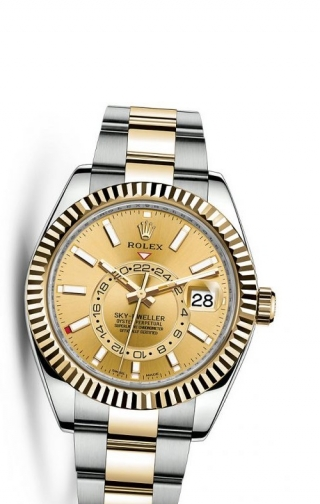 Sky-Dweller Stainless Steel/Yellow Gold/Champagne
