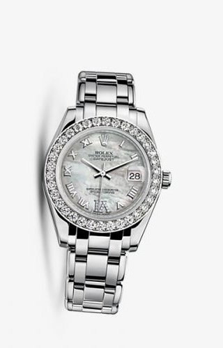 Datejust Pearlmaster 34 White Gold Diamond Mother of Pearl Roman