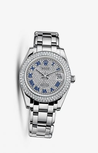 Datejust Pearlmaster 34 White Gold Double Diamond Paved Roman