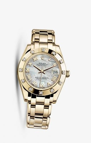 Datejust Pearlmaster 34 Yellow Gold 12 Diamond Mother of Pearl Roman
