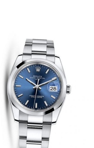 Oyster Perpetual Date 34 Stainless Steel Domed / Oyster / Blue