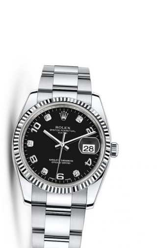 Oyster Perpetual Date 34 Stainless Steel Fluted / Oyster / Black