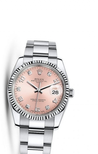 Oyster Perpetual Date 34 Stainless Steel Fluted / Oyster / Pink Arabic