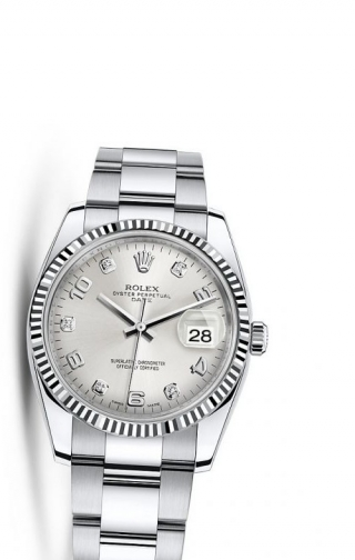 Oyster Perpetual Date 34 Stainless Steel Fluted / Oyster / Silver Arabic