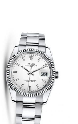 Oyster Perpetual Date 34 Stainless Steel Fluted / Oyster / White