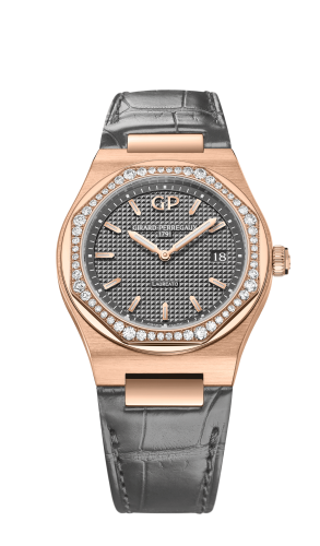 Laureato 34 Quartz Pink Gold / Diamond / Grey / Alligator