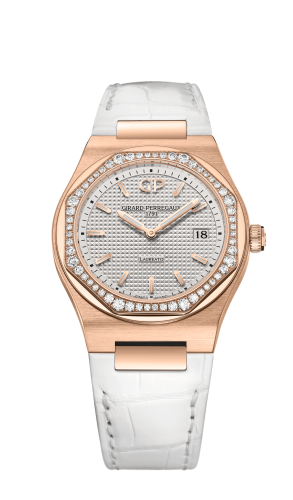 Laureato 34 Quartz Pink Gold / Diamond / Silver / Alligator