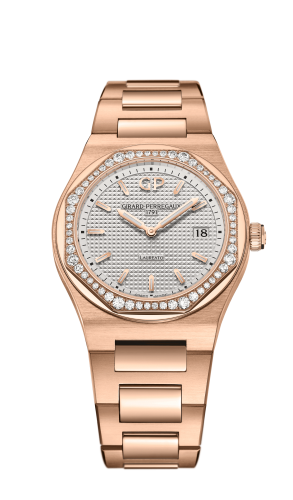Laureato 34 Quartz Pink Gold / Diamond / Silver