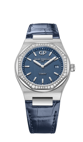 Laureato 34 Quartz Stainless Steel / Diamond / Blue / Alligator