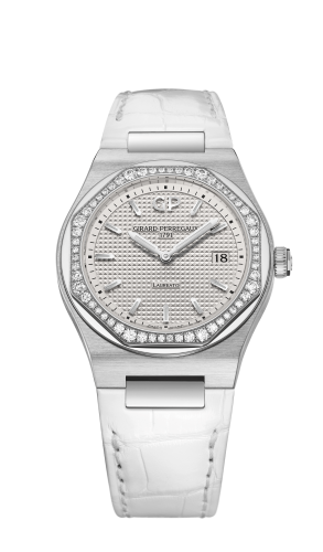 Laureato 34 Quartz Stainless Steel / Diamond / Silver / Alligator