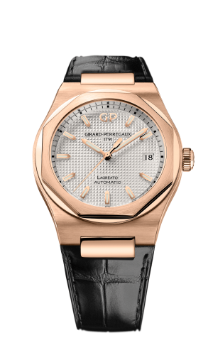Laureato 38 Automatic Pink Gold / Silver / Alligator