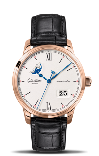 Senator Excellence Panorama Date Moonphase Red Gold