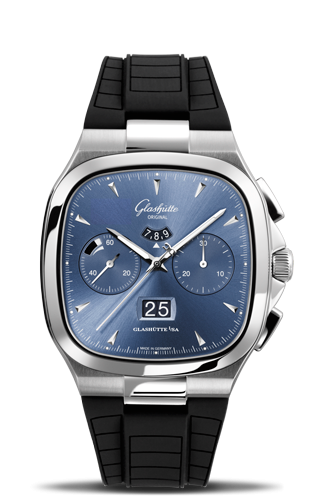 Seventies Chronograph Panorama Date Blue Rubber