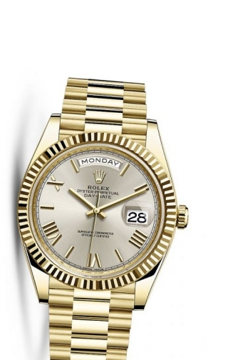 Day-Date 40 Yellow Gold / Silver Roman