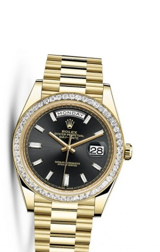 Day-Date 40 Yellow Gold Baguette / Black Diamonds