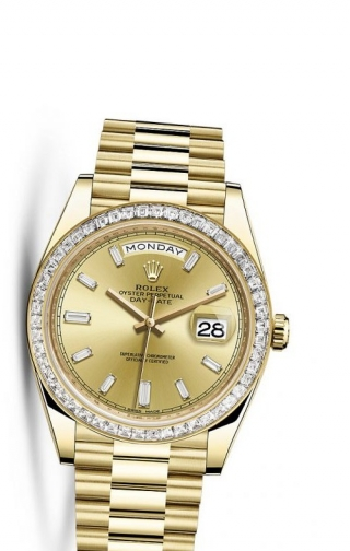 Day-Date 40 Yellow Gold Baguette / Champagne Diamonds