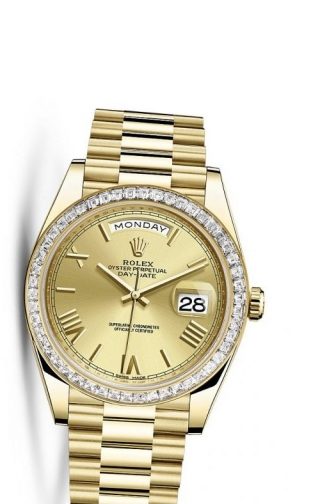 Day-Date 40 Yellow Gold Baguette / Champagne Roman