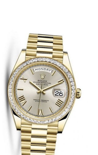 Day-Date 40 Yellow Gold Baguette / Silver Roman
