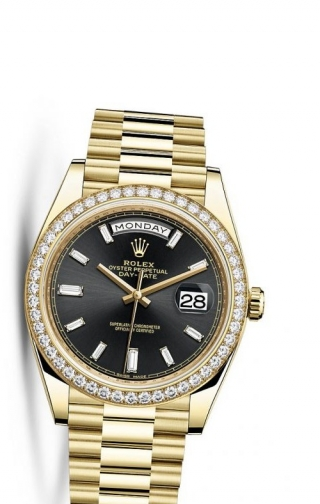 Day-Date 40 Yellow Gold Diamonds / Black Baguette