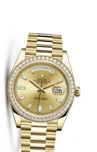 Day-Date 40 Yellow Gold Diamonds / Champagne Baguette