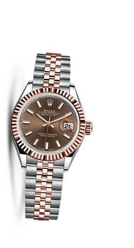 Lady-Datejust 28 Rolesor Rose Fluted / Jubilee / Chocolate