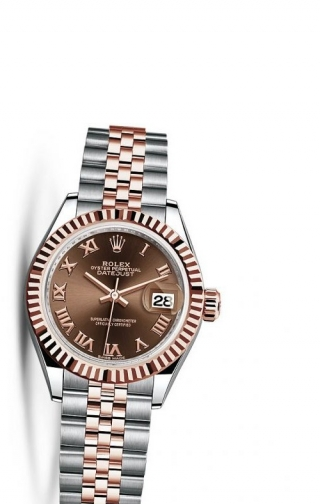 Lady-Datejust 28 Rolesor Rose Fluted / Jubilee / Chocolate Roman