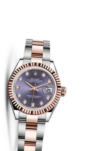 Lady-Datejust 28 Rolesor Rose Fluted / Oyster / Aubergine Diamonds