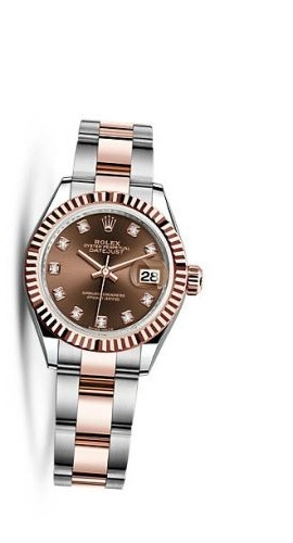 Lady-Datejust 28 Rolesor Rose Fluted / Oyster / Chocolate Diamond