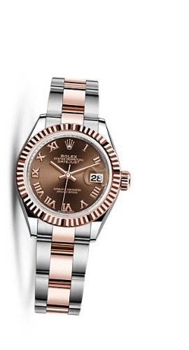 Lady-Datejust 28 Rolesor Rose Fluted / Oyster / Chocolate Roman