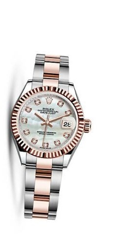 Lady-Datejust 28 Rolesor Rose Fluted / Oyster / MOP