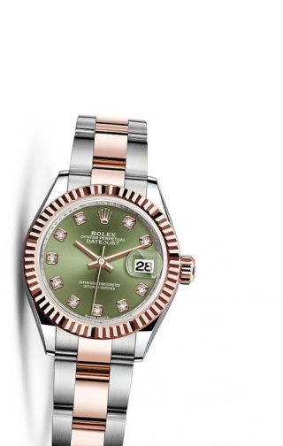 Lady-Datejust 28 Rolesor Rose Fluted / Oyster / Olive Diamonds