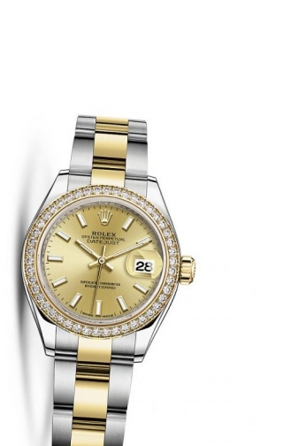 Lady-Datejust 28 Rolesor Yellow Diamond / Oyster / Champagne