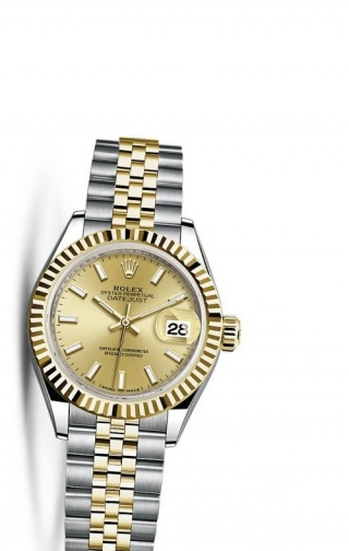 Lady-Datejust 28 Rolesor Yellow Fluted / Jubilee / Champagne