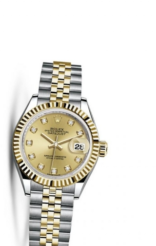 Lady-Datejust 28 Rolesor Yellow Fluted / Jubilee / Champagne Diamond