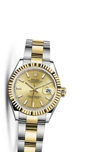 Lady-Datejust 28 Rolesor Yellow Fluted / Oyster / Champagne