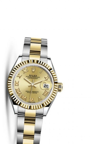 Lady-Datejust 28 Rolesor Yellow Fluted / Oyster / Champagne Roman