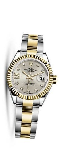 Lady-Datejust 28 Rolesor Yellow Fluted / Oyster / Silver Diamond
