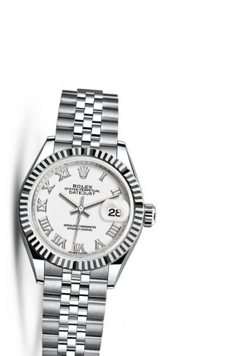 Lady-Datejust 28 Stainless Steel Fluted / Jubilee / White Roman