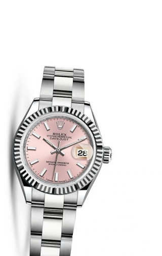 Lady-Datejust 28 Stainless Steel Fluted / Oyster / Silver