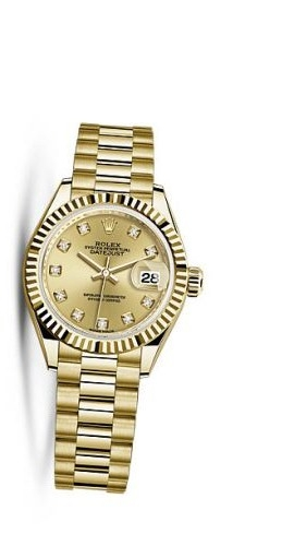 Lady-Datejust 28 Yellow Gold Fluted / President / Champagne Diamond