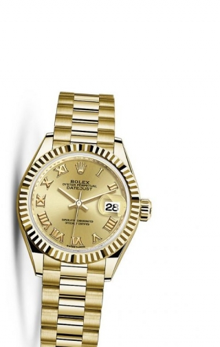 Lady-Datejust 28 Yellow Gold Fluted / President / Champagne Roman