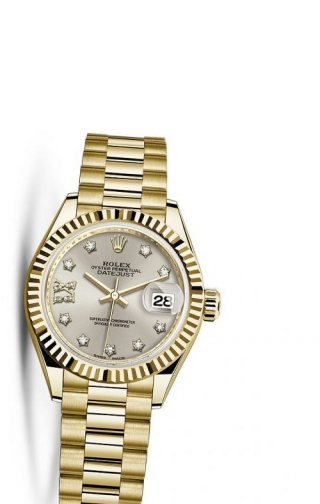 Lady-Datejust 28 Yellow Gold Fluted / President / Silver Diamond