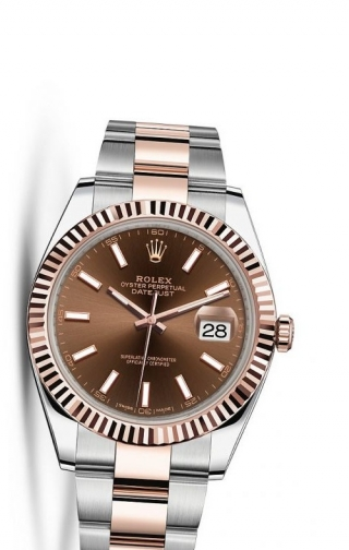 Datejust 41 Rolesor Everose Fluted / Oyster / Chocolate