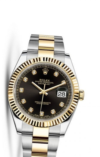 Datejust 41 Rolesor Yellow Fluted / Oyster / Black Diamond